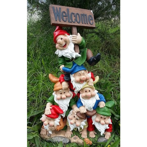 73cm seven dwarf with welcome sign gnomes products