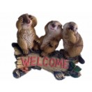 """24cm Three Squirrels on Log With """"Welcome"""""""