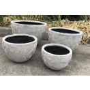 S / 4 Flower Bowl Pots White