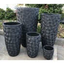 S/5 Flower Pattern Pots Black 101cm