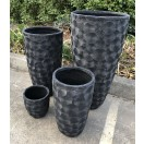 S/4 Flower Pattern Pots Black 89cm
