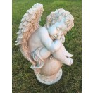 50cm Tall Cherub Sleeping on Ball Statue