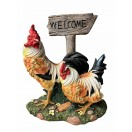 37cm Two Rooster with Welcome