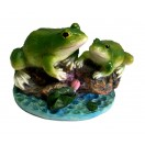 15cm Two Frogs on Rocks Figurine