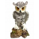 19cm Tall Owl Standing on Rock Figurine white