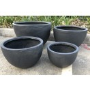 S / 4 Smooth Bowl Pots Black