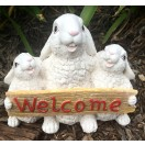 23cm Three Rabbit with Welcome