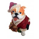 17cm Bulldog with Xmas Cloting