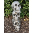 55cm Silver Three Skull Top Up Statue